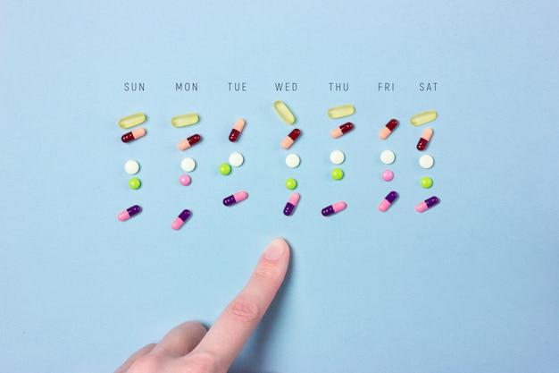 Plan hebdomadaire ou calendrier de prise de médicaments sous forme de comprimés et de gélules avec les jours de la semaine
