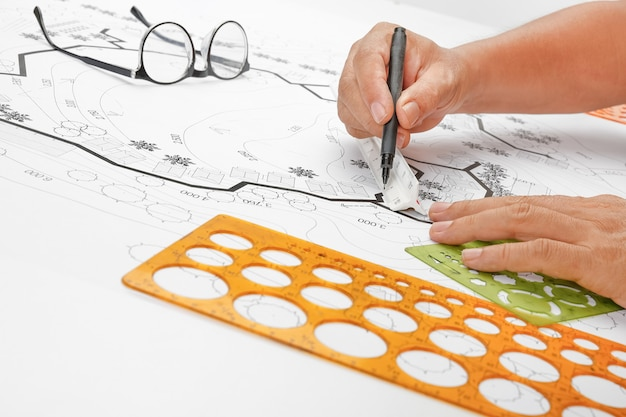 Plan de jardin de conception d'architecture de paysage pour le développement de logement