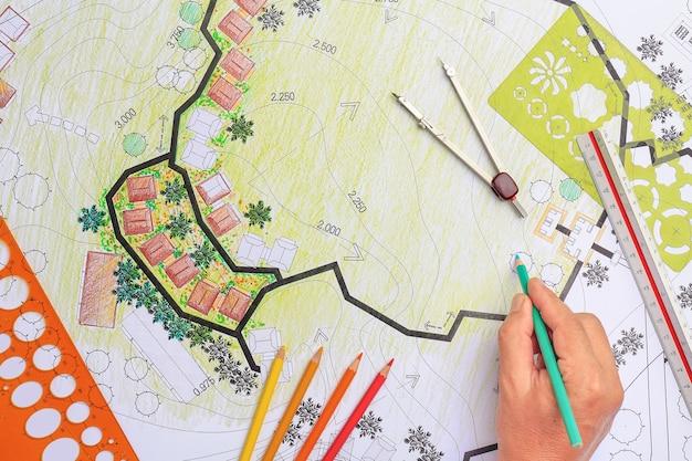 Plan de jardin de conception d'architecture de paysage pour le développement de logements
