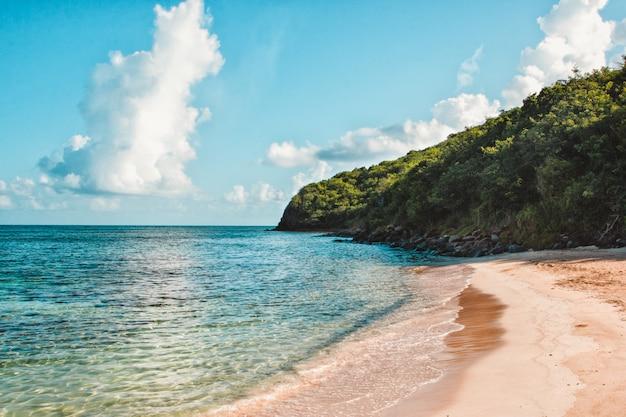 Plan large d'une falaise verte au bord de la mer sous un ciel bleu clair avec des nuages