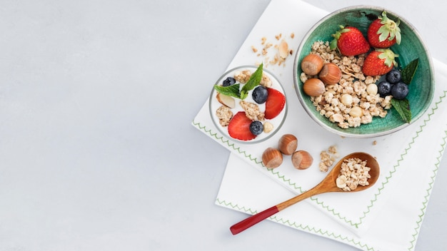 Plan long d'amandes aux fraises