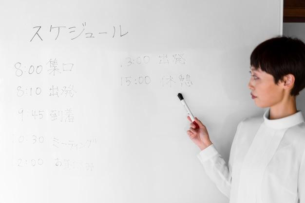 Plan moyen femme regardant tableau blanc