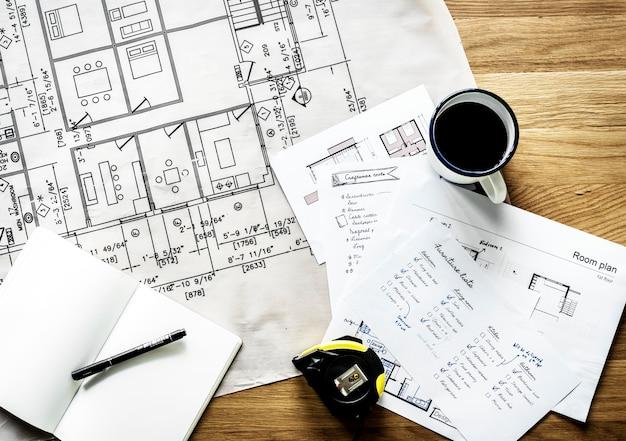 Plan rapproché du plan de maison