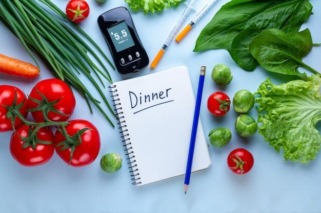 Plan de régime du diabète pour les diabétiques. mesurer les niveaux de glucose.