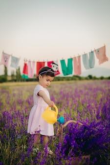 Plan vertical d'une jolie petite fille arrosant soigneusement les fleurs de lavande avec un arrosoir jaune