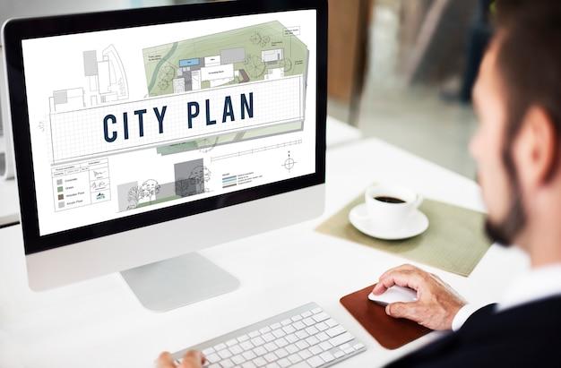 Plan de la ville municipalité concept de gestion de la ville communautaire