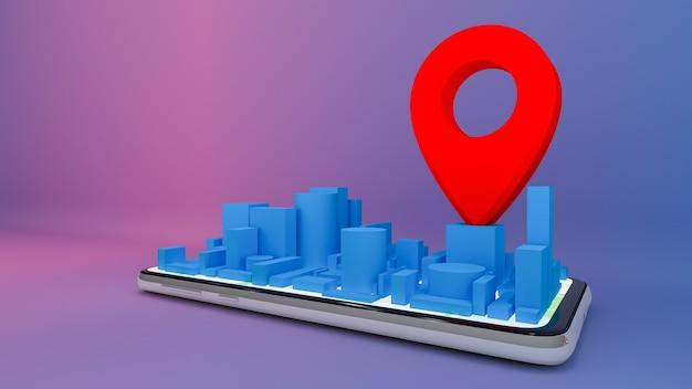 Plan de la ville numérique mobile avec des pointeurs de broche rouge., concept de livraison., rendu 3d.