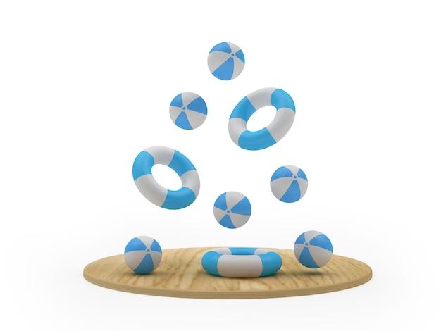 Planche de bois de rendu 3d avec des ballons de plage et des bouées de sauvetage flottant sur fond blanc