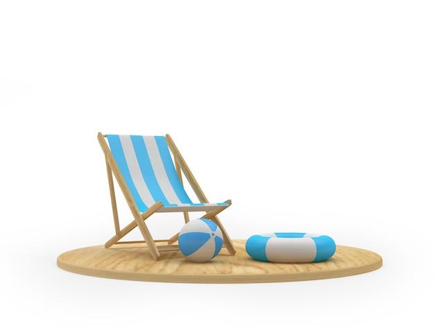 Planche de bois de rendu 3d avec chaise de plage, bouées de sauvetage et ballons de plage sur fond blanc
