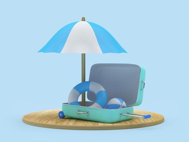 Planche de bois de rendu 3d avec parasol et bouées de sauvetage à l'intérieur d'une valise sur fond blanc