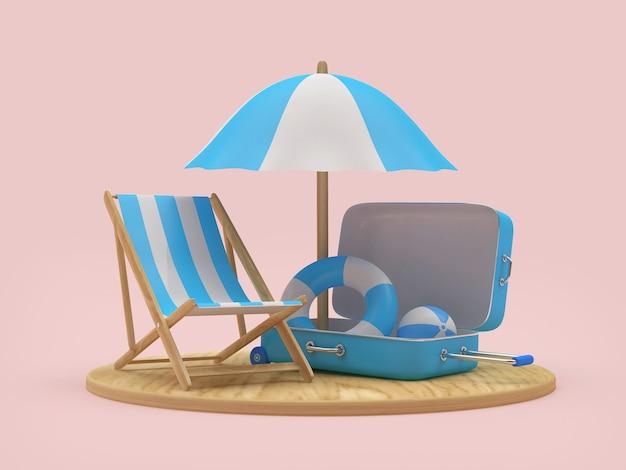 Planche de bois de rendu 3d avec parasol, chaise et bouées de sauvetage à l'intérieur de la valise sur fond rose