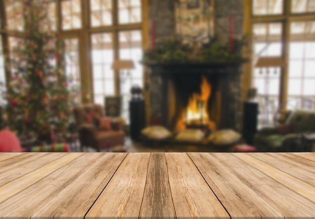 Planche de bois table vide fond flou de noël