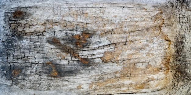 Planche de bois texturée avec des fissures et des marques de bronzage. fond de gros plan