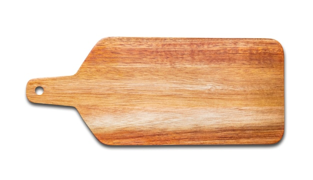 Planche à découper en bois isolé sur fond blanc