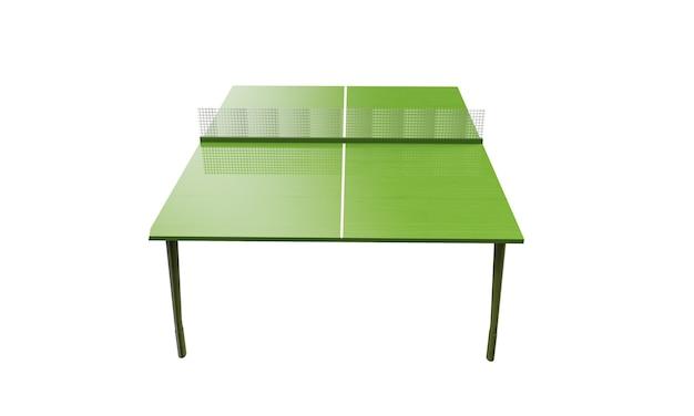 Planche de ping-pong verte ou table avec filet isolé sur fond blanc rendu 3d