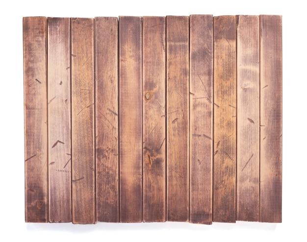 Planche, poutre ou barres en bois vieillies sur le fond blanc