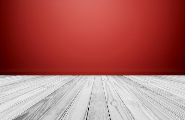 Plancher en bois blanc avec mur rouge, salle vide