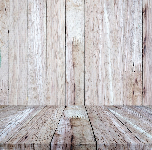 Plancher en bois brun vintage avec fond de mur en bois brun, pour