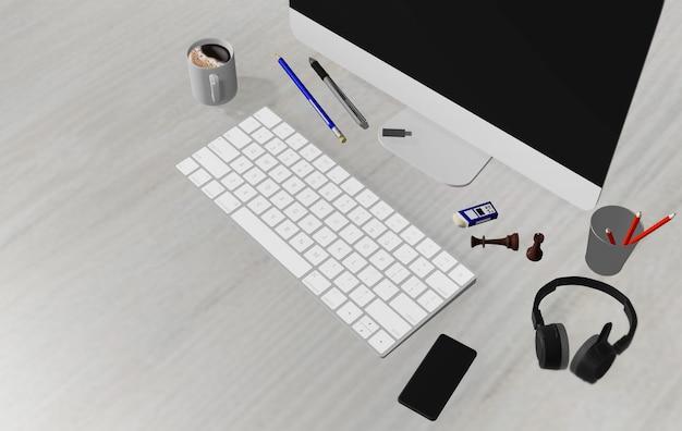 Plancher en bois clair avec un ordinateur portable, un stylo, un téléphone, des écouteurs, vue de dessus avec un espace pour le placement au travail.