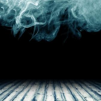 Plancher en bois sur fond de nuages de fumée
