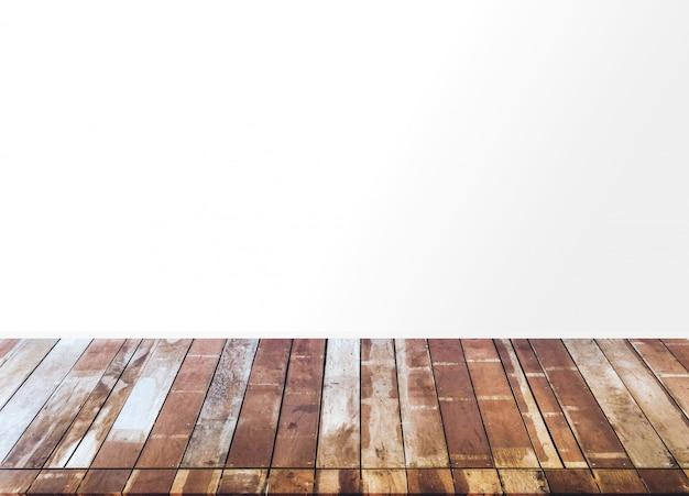 Plancher en bois et mur blanc, pièce vide pour le fond.