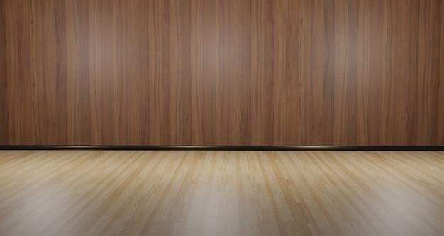 Plancher en bois et mur salle vide 3d illustration