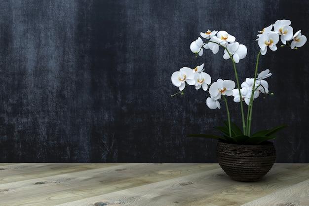 Plancher Ou Table En Bois Sur Fond De Craie Avec Fleur D'orchidée Photo Premium