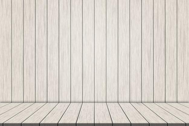Planches en bois blanc sur mur en bois blanc pour le montage de votre produit