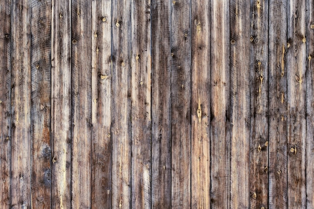 Planches de bois massif de couleur marron foncé avec des marques de mors formant une clôture