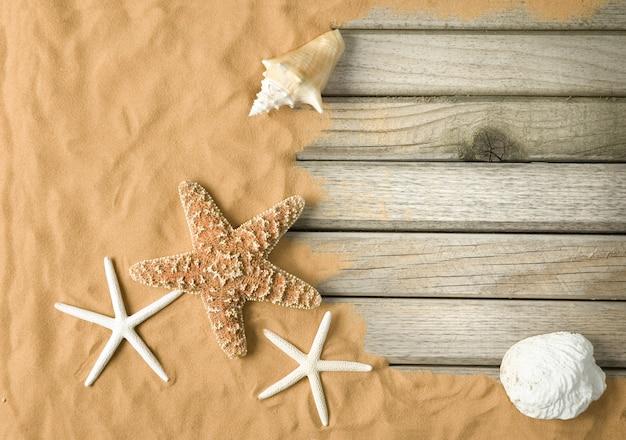 Planches de bois et sable avec étoiles de mer et coquillages