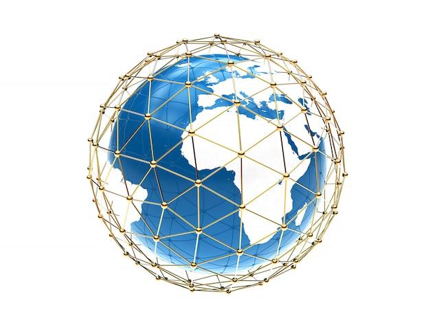 Planète sur blanc avec connexion globale