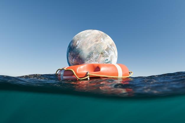 Planète avec bouée de sauvetage dans l'océan
