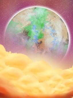 Planète fantastique de fond de nuage avec des étoiles filantes