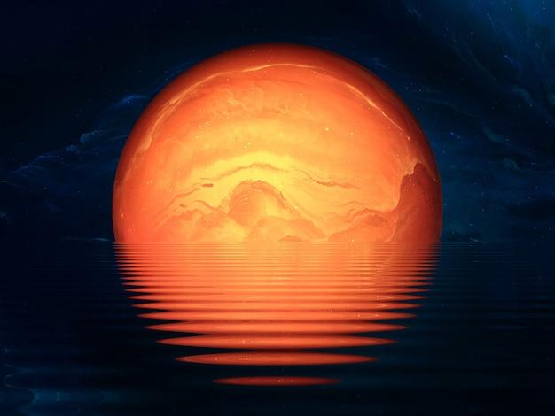 Planète floue de couleur abstraite dans l'espace, d'autres mondes, une planète fantastique dans une autre galaxie