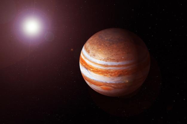 Planète jupiter sur fond sombre. les éléments de cette image ont été fournis par la nasa. photo de haute qualité