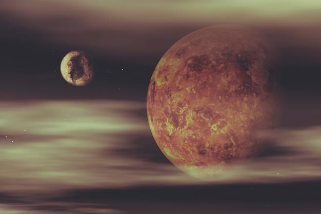 Planète avec une lune