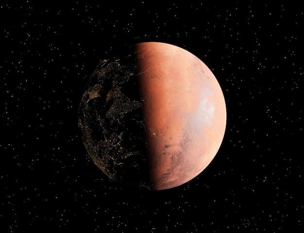 La planète mars avec des lumières dans sa face cachée