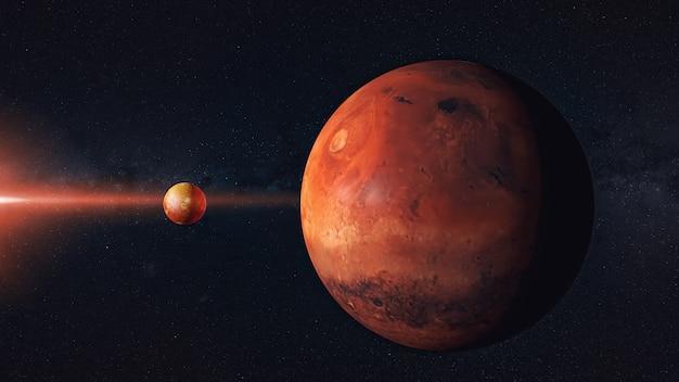 Planète rouge, galaxie