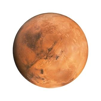 Planète rouge mars sur fond blanc isolé