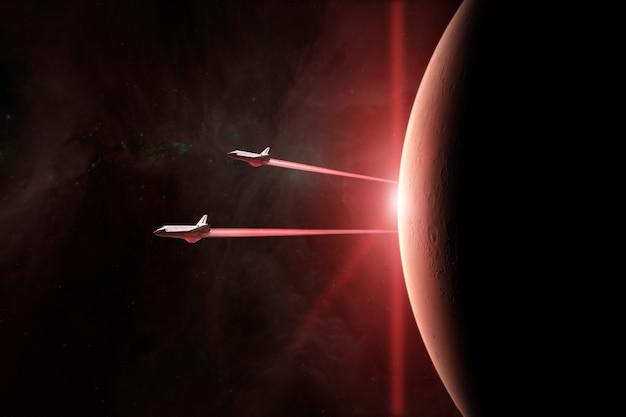 Planète rouge mars avec des navettes spatiales décollant en mission