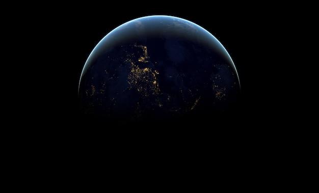 Planète terre dans l'espace extra-atmosphérique sombre.