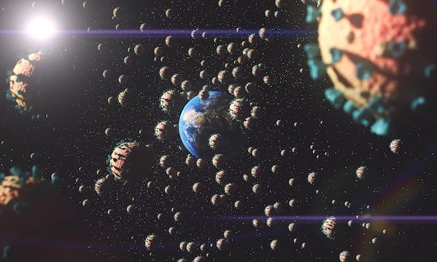La planète terre entourée de virus