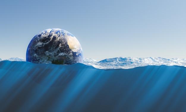 Planète terre flottant dans la mer avec vue sur les fonds marins. concept d'environnement, fonte des glaces, réchauffement climatique et écologie. rendu 3d. texture de la terre par nasa.gov