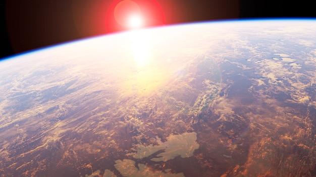 Planète terre avec lever de soleil dans l'espace - europe - éléments de cette image fournis par la nasa