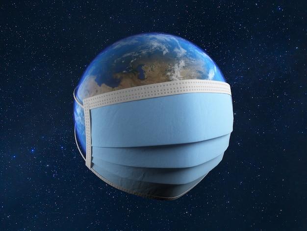 Planète terre avec un masque médical
