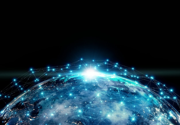 La planète terre la nuit entourée d'une connexion réseau.