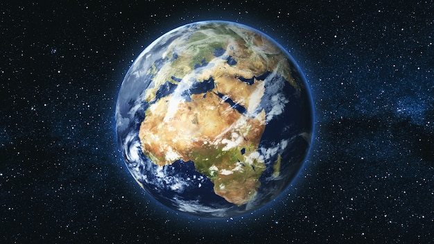 Planète terre réaliste tournant sur son axe dans l'espace contre le ciel étoilé de la voie lactée