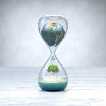 Planète terre en sablier, concept de réchauffement climatique.