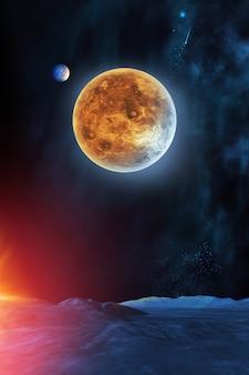 Planète de vénus dans le ciel de la vue de la planète voisine