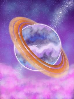 Planète violette de fond d'illustration avec le nuage